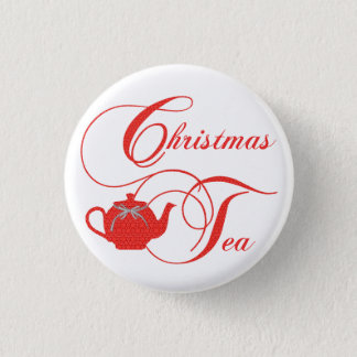 Red Lace Christmas Tea Party 1 Inch Round Button