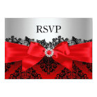 Red Lace Damask & Bow RSVP Card