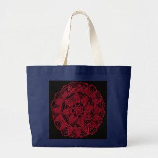 Red lace mandala on black  bag