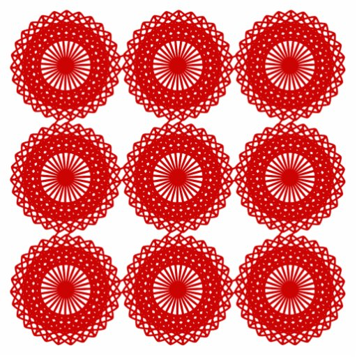 Red Lace Pattern Design. Photo Sculpture