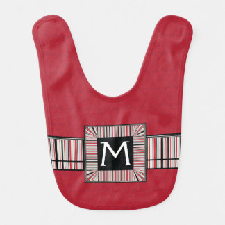 Red Lace Rounds Pattern With Initial Bib