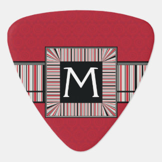 Red Lace Rounds Pattern With Initial Guitar Pick