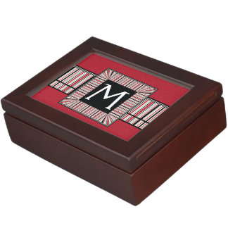 Red Lace Rounds Pattern With Initial Keepsake Box