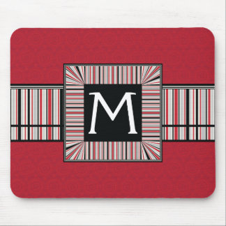 Red Lace Rounds Pattern With Initial Mouse Pad
