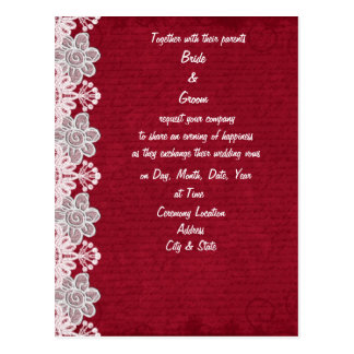 Red Lace Wedding Invitation Postcard