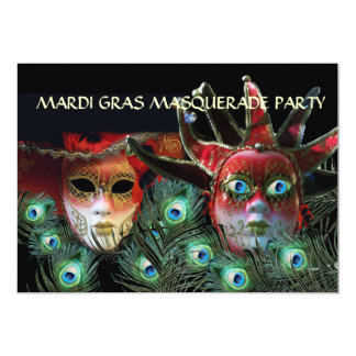 """RED LADY AND JESTER MASK WITH  PEACOCK FEATHERS 5"""" X 7"""" INVITATION CARD"""