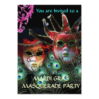 "RED LADY AND JESTER MASK WITH  PEACOCK FEATHERS 5"" X 7"" INVITATION CARD"