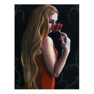 Red Lady Flower Red Rose Carnation Gothic Postcard