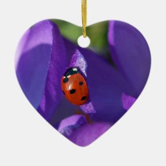 Red ladybird on crocus ceramic heart ornament