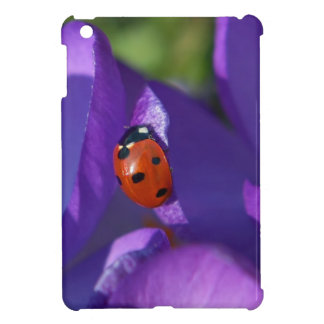 Red ladybird on crocus cover for the iPad mini