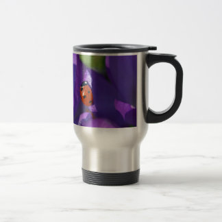 Red ladybird on crocus travel mug