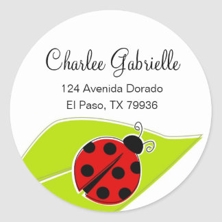 Red Ladybug Address Labels Round Sticker