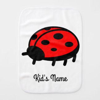 Red ladybug baby burp cloths