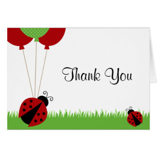 Red Ladybug Balloons Thank You Note Card