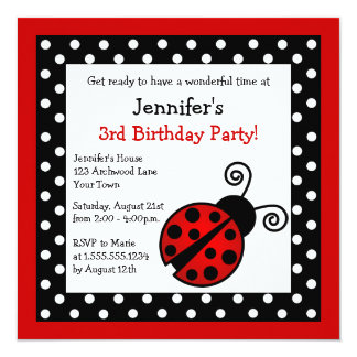 "Red Ladybug Birthday - Black and White Polka Dots 5.25"" Square Invitation Card"