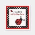 Red Ladybug Birthday - Black and White Polka Dots Paper Napkin