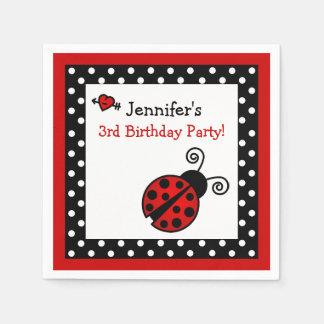Red Ladybug Birthday - Black and White Polka Dots Paper Napkins