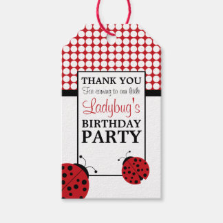 Red Ladybug Children's Birthday Party Pack Of Gift Tags