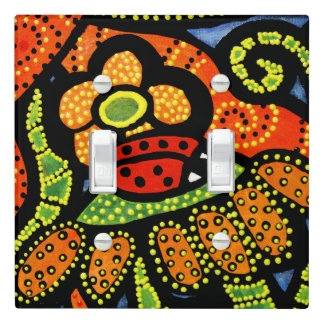 Red Ladybug Colorful Flowers Light Switch Cover