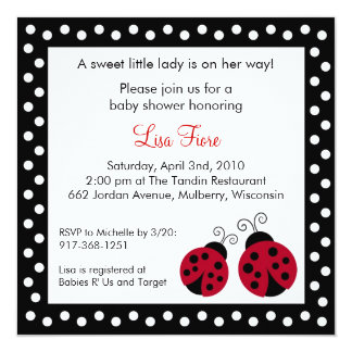 Red Ladybug Dots Baby Shower Invitations