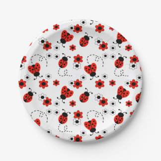 Red Ladybug Lady Bug Floral White Spring Flowers 7 Inch Paper Plate