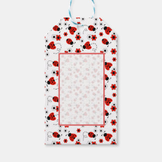 Red Ladybug Lady Bug Floral White Spring Flowers Pack Of Gift Tags
