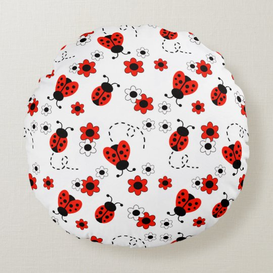 Red Ladybug Lady Bug Floral White Spring Flowers Round Pillow