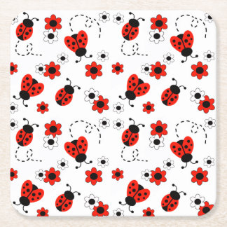 Red Ladybug Lady Bug Floral White Spring Flowers Square Paper Coaster