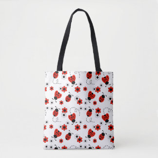 Red Ladybug Lady Bug Floral White Spring Flowers Tote Bag
