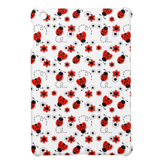 Red Ladybug Lady Bug White Floral Teen Girl iPad Mini Cover