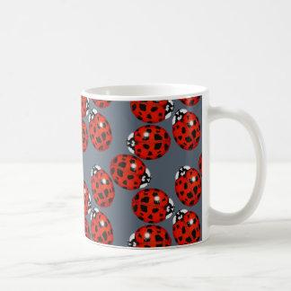 Red Ladybug on Grey Mug