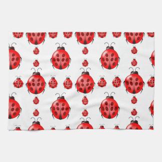 Red Ladybug Pattern Kitchen Towel