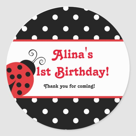 Red Ladybug polka dot party favour stickers