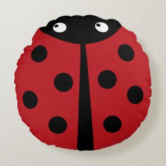Red Ladybug Round Throw Pillow