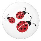Red Ladybug Trio Ceramic Knob