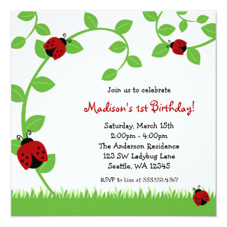 Red Ladybug Vines Birthday Party Invitations