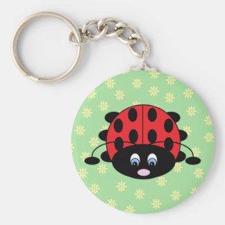 Red Ladybug with Flowers Keychain