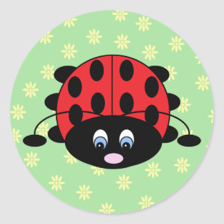 Red Ladybug with Flowers Stickers