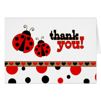 Red Ladybugs Thank You Note Card