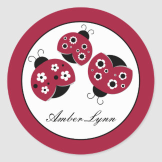 Red Ladybugs With Black Flowers Classic Round Sticker