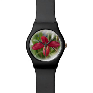 Red Lady's Slipper Orchid Wristwatches