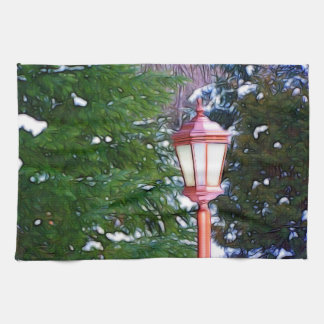 Red Lantern in winter original (Dark) Kitchen Towel