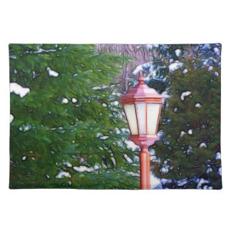 Red Lantern in winter original (Dark) Placemat