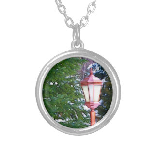 Red Lantern in winter Silver Plated Necklace