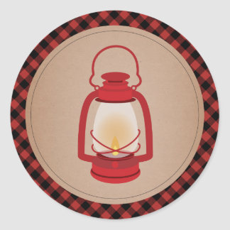 Red Lantern Plaid Sticker