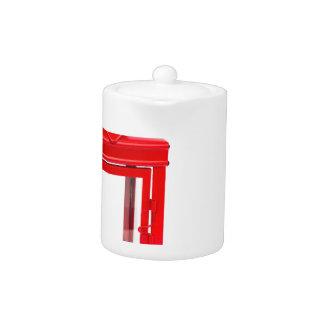 Red lantern with burning tealight on white
