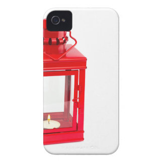 Red lantern with burning tealight on white Case-Mate iPhone 4 case