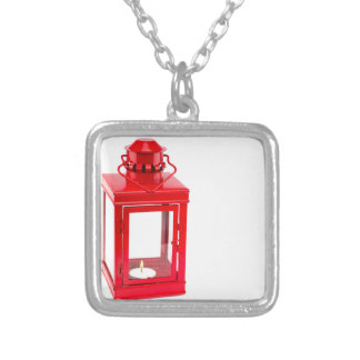 Red lantern with burning tealight on white silver plated necklace