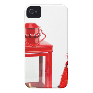 Red lantern with penguin figurine on white Case-Mate iPhone 4 cases