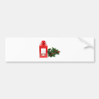 Red lantern with tealight holly twigs and berries bumper sticker